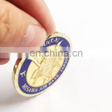 Custom Japan warrior gold challenge coin for souvenir