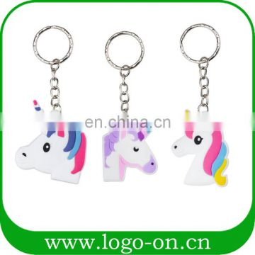 Newest soft PVC rubber unicorn keychain