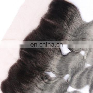 "13x4"" Ombre Grey Lace Frontal Closure Swiss Lace Body Wave Dark Root Gray Hair Frontal Closure ear to ear"