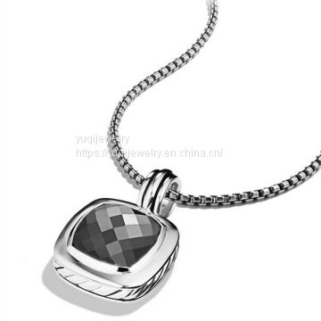 Sterling Silver Jewelry 14mm Albion Pendant with Hematite(P-015)