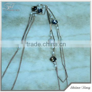 new arrival long gold plated chain necklace mixed pearl white and black crystal for fashion girl