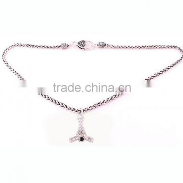 New Arrival Antique Silver Lobster Claw Wheat Link Chain With Large Clasp Crystal Sport Hockey Necklace