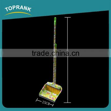 Toprank Home Usage Color Printed Plastic Long Handle Dustpan And Broom Set Sweep Easy Broom