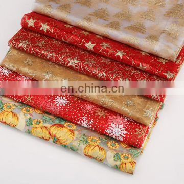 2015 New Pattern Fabric Red And White Fabric Printing Golden Spraying Organza