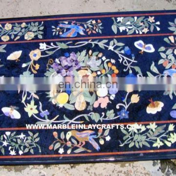 Marble Inlay Dining Table Top With Pietra Dura Work