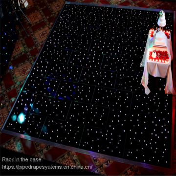 White Starlit Dance Floor with LED Curtain Backdrop for Wedding