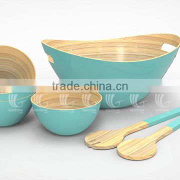 ... Set Handmade Bamboo Salad Bowls And Spoons, Lacquered Bamboo Products  ...