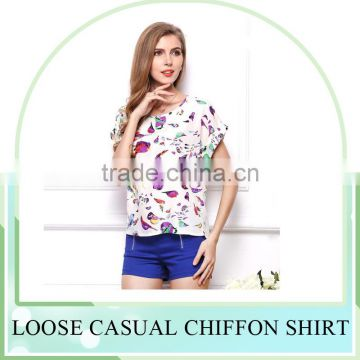 Hot Sale European style plus size batwing sleeves printing Chiffon Blouse shirt for women , Casual Chiffon Blouse &tops