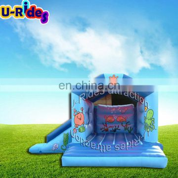 Blue inflatable combo bouncy castle inflatable bouncer slide castle kids inflatable castle for park
