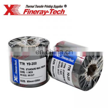 xinxiang fineray wax resin black white label uv fluorescent thermal transfer clothing labels ribbon