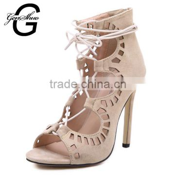 New Trendy Women High Heel Sandals Peep Toe Women Sandals Cover Heel Gladiator Sandals Women Shoes Thin Heel Summer Shoes                                                                         Quality Choice