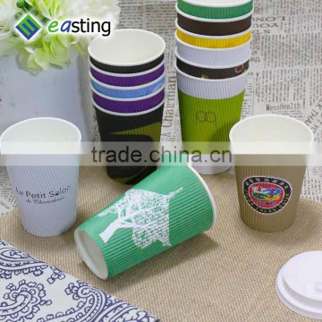 china factory 16oz black custom design ripple coffce drinking paper cup with the world map