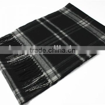 Men 100%Cashmere Yarn Dyed Scarf With Fringe