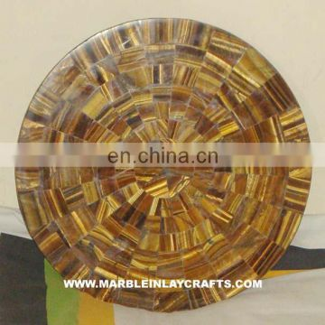 Tiger Eye Stone Table Tops, Round Marble Table Top