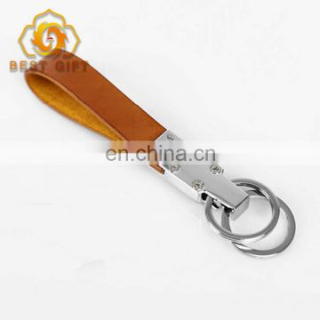 New Products Ideas 2018 Custom Leather Keyring Brown