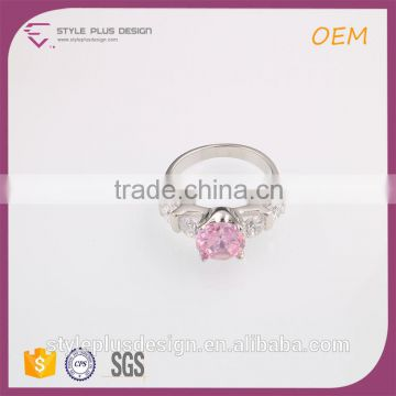 R63492K01 Sapphire Hurren Sultan Spikes Stainless Steel Pink 5 Lucky Colored Stones Silver Ring