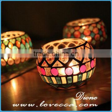 Handmade Colorful Red / Green Mosaic Ball Tealight Glass Candle Holder