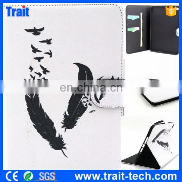 Wallet style tablet case/ PU leather tablet case/ Black Feathers tablet case supplier & exporter