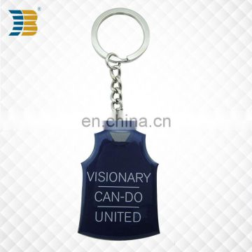 3d vest shaped promotional custom metal keychain