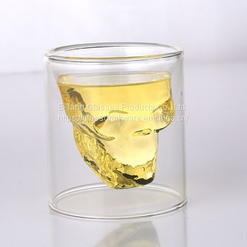 2018 Hot Sale Hand made skull shaped double wall high borosilicate glass cup for whisky