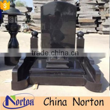 Factory sale shanxi black granite cemetery headstone price NTGT-436A