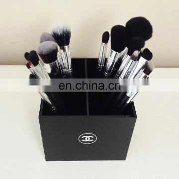 Black cube pmma makeup brush holder plexiglass brush display stand acrylic brush holder