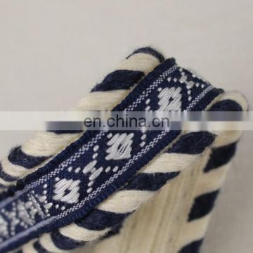 Special design jacquard ribbon trim with cotton rope