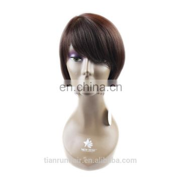 Color #4 virgin Brazilian remy Human Hair short bob lace front Wig for black women