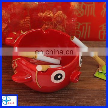 china style resin red fish ashtray crafts