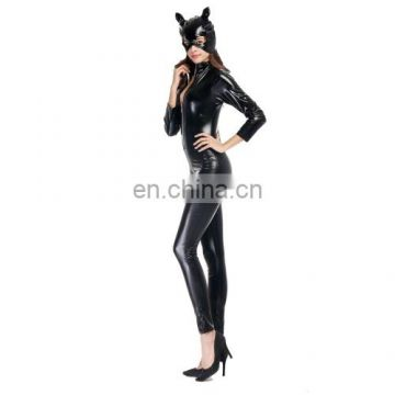 Halloween Costume Patent Leather Cat Girl Neutral Sexy Motorcycle Clothing Stage Performance Cospaly Clothing halloween cosplay