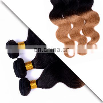 factory wholesale online remy weave tangle free ombre color 1B/30 body wave