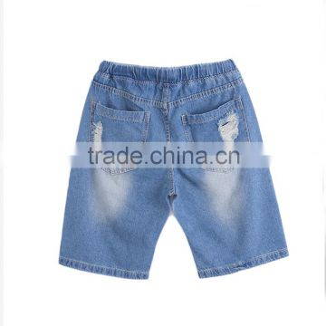 summer fashion men denim elastic waistband distressed teenager half pants short jeans shorts                                                                                                         Supplier's Choice