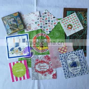 Wholesale custom art design decorative printed paper napkin