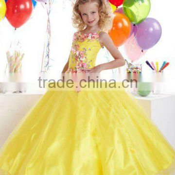 Appliqued beaded custom-made yellow little girls ball gown dresses CWFaf4802