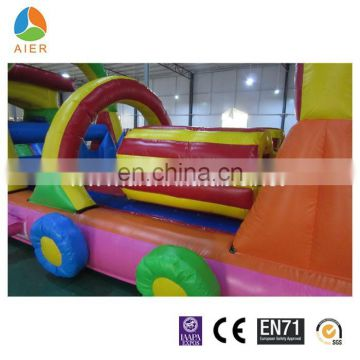 Long train kids inflatable obstacle course, obstacles game for kids, inflatable bouncer obstacle course