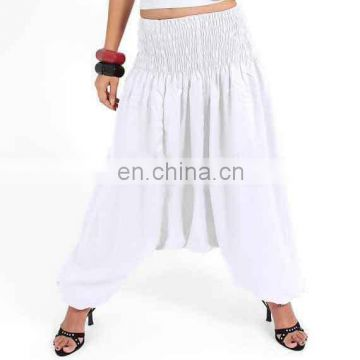 White Solid Alibaba Harem Genie Trouser Hippie Trousers Aladdin Pants Baggy Gypsy Hippie Baggy Pants Afghani Unisex wholesale