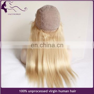 15Years experience human hair wig honey blonde color european hair lace frontal wig