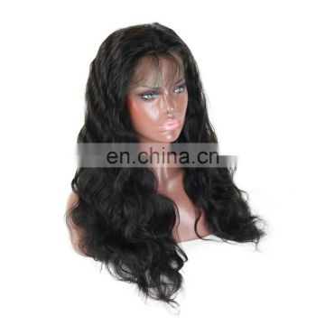 Factory price 100% Indian human virgin hair full lace wig in body wave raw unprocessed hair