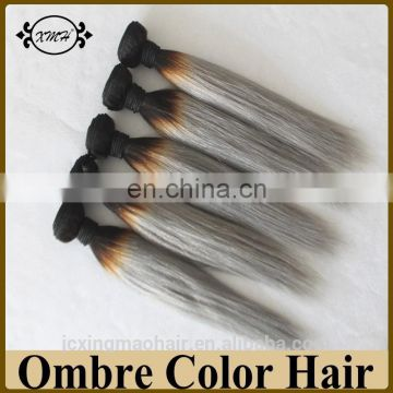 Cheap Ombre Hair Extension Dark Rooted Grey Human Hair Weave Bundles #T1B/Grey