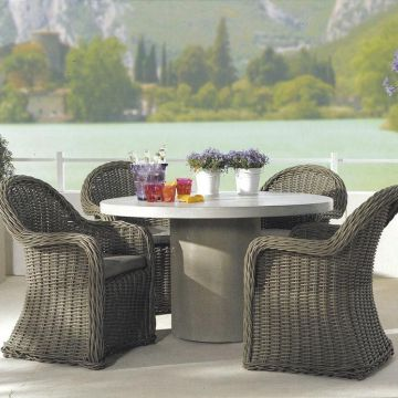 Brown Rattan Chairs Steel Nontoxic Rattan Table Chairs