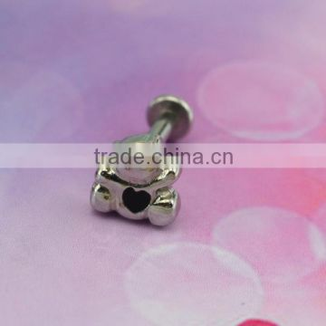 New Arrival Bear Lip Studs, Wholesale Body Piercing Jewelry, Fashion Stainless Steel Labrets Rings