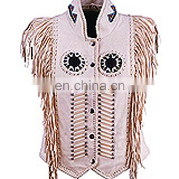HMB-3601B LEATHER VEST FRINGES BEADS WORK STYLE WAISTCOAT OFFWHITE VESTS