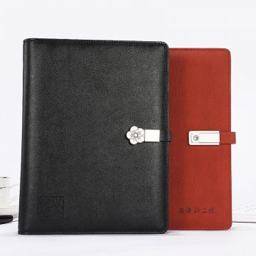 2020 B5 Multifunction Notebook Loose-leaf Factory Custom Notebook Charging Powerbank Notebook With US Pendrive