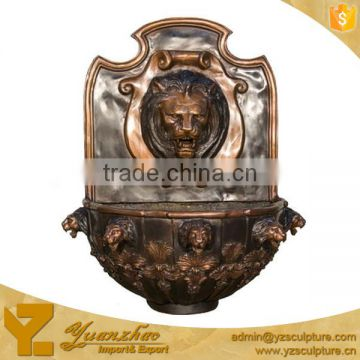 indoor bronze lion head wall water fountain for sale