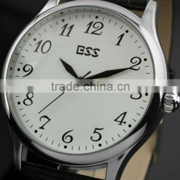 ESS Men's Classic Black Leather White Quartz Wrist Watch