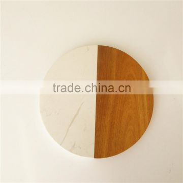 round stunning marble cheese board with wood