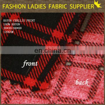 classical pattern for wear check design printed rayon shirting making fabric