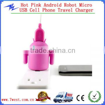Android Robot Universal USB Travel Wall Charger with Light Up Eyes & Moveable Arms for iphone - Hot Pink