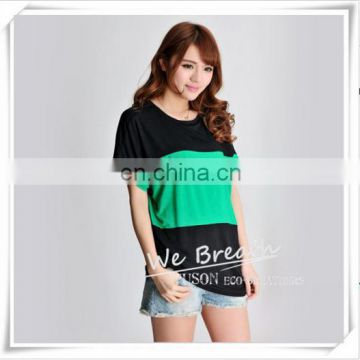 Bamboo Jersey Summer Short Sleeves T-shirt with Big Color Block Matching Soft