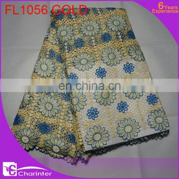 free shipping 2015 African Cupion Guipure Lace Fabric Embroidered